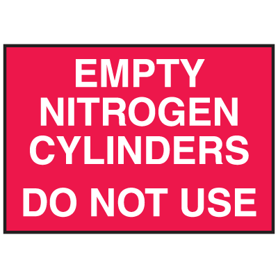 Cylinder Status Signs - Empty Nitrogen Cylinders Do Not Use
