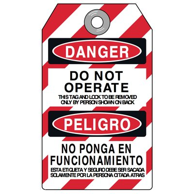 Danger Do Not Operate - Bilingual Tyvek® Lockout Tag