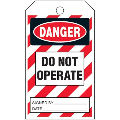 Danger Do Not Operate - Striped Lockout Tag