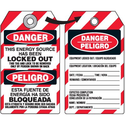 Danger Energy Source Locked Out - Bilingual Heavy Duty Plastic Tag