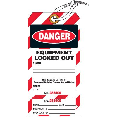 Danger Equipment Locked Out - Lockout Tag, Cardstock