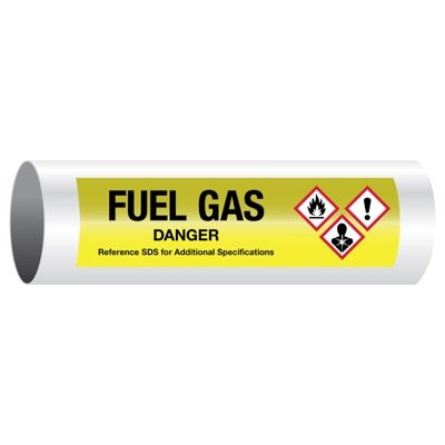 Danger Fuel Gas - GHS Pipe Markers