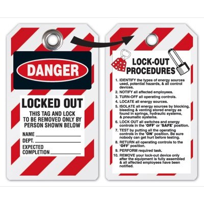 Danger Locked Out Tag - Heavy Duty Plastic Tag Lockout Tag