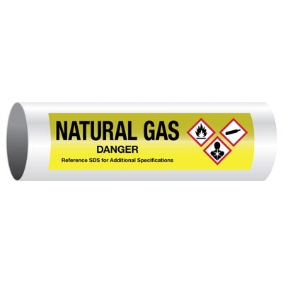 Danger Natural Gas - GHS Pipe Markers