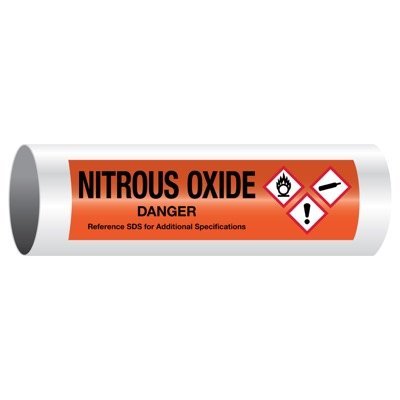 Danger Nitrous Oxide - GHS Pipe Markers