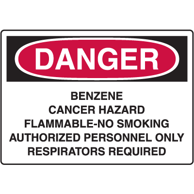 OSHA Danger Signs - Benzene Cancer Hazard Respirator Required