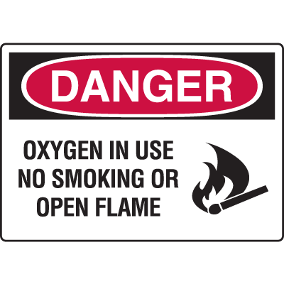 Danger Signs - Oxygen In Use No Smoking Or Open Flame