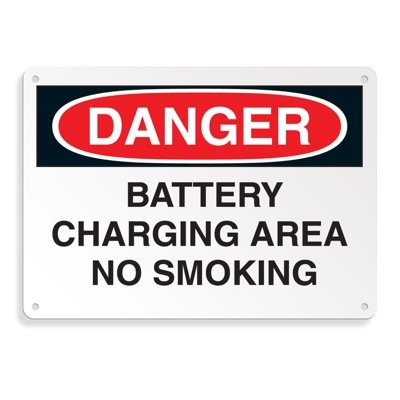OSHA Danger Signs - Battery Charging Area No Smoking