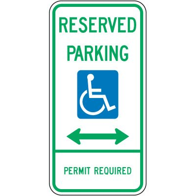 Delaware State Handicap Signs - Reserved Parking Permit Required