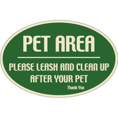 Designer Oval Signs - Pet Area