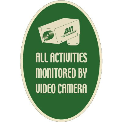 Designer Oval Signs - All Activities Monitored By Video Camera