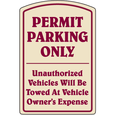 Designer Property Signs - Permit Parking Only