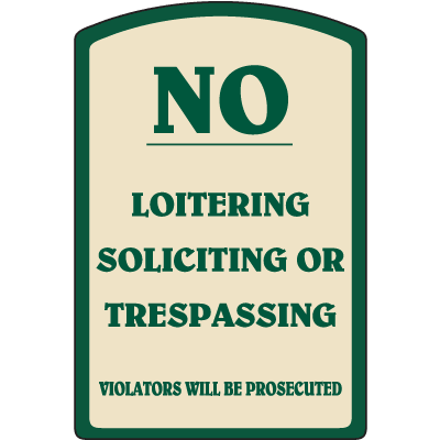 Designer Property Signs - No Loitering