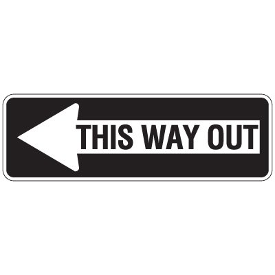 Directional Traffic Signs - This Way Out (Left Arrow)