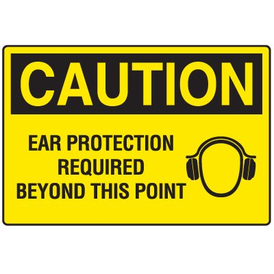 Disposable Plastic Corrugated Signs - Caution Ear Protection Required Beyond This Point