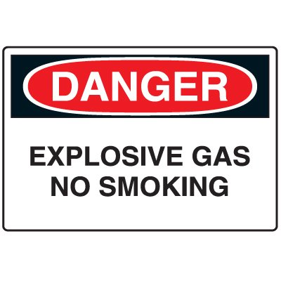Disposable Plastic Corrugated Signs - Danger Explosive Gas No Smoking