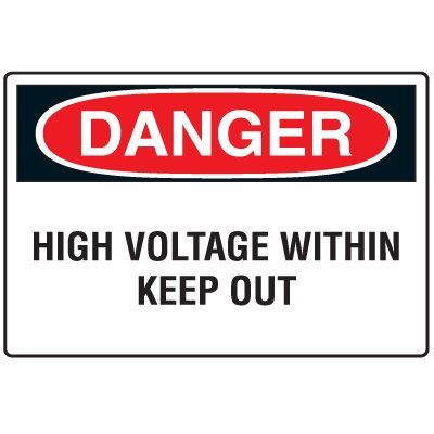 Disposable Plastic Corrugated Signs - Danger High Voltage Within Keep Out