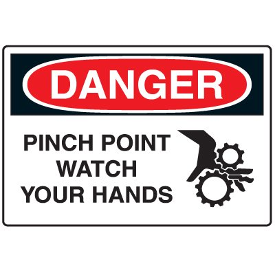Disposable Plastic Corrugated Signs - Danger Pinch Point Watch Your Hands