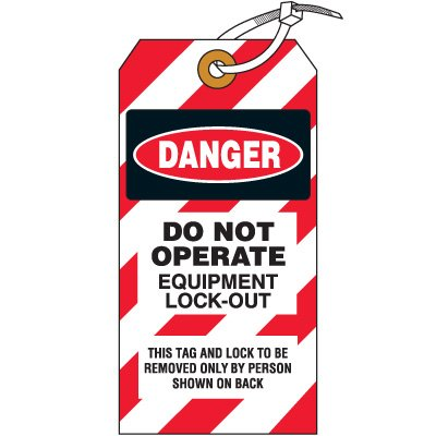 Do Not Operate Equipment  - Lockout Tag, Cardstock
