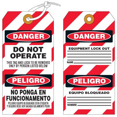 Do Not Operate No Ponga - Bilingual Lockout Tag