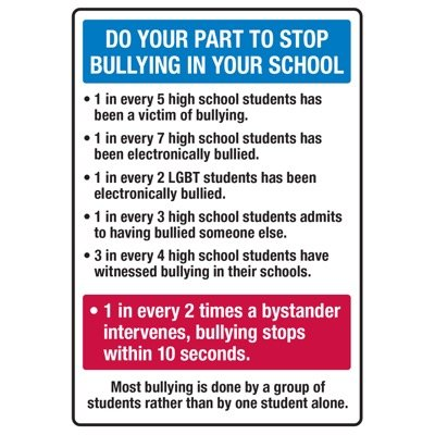 Do Your Part To Stop Bullying - No Bullying Signs