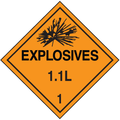 1.1L DOT Explosive Placards