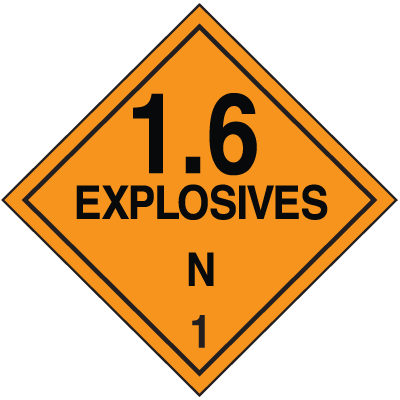 DOT Division 1.6 Explosives Placards