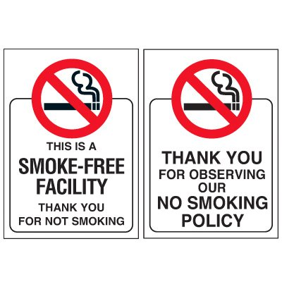 Double-Sided No Smoking Window Signs - THIS IS A SMOKE-FREE FACILITY