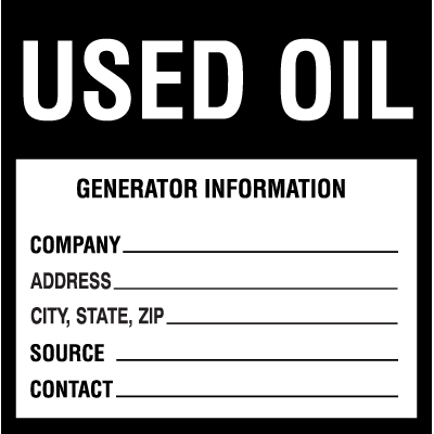 Drum Identification Labels - Used Oil
