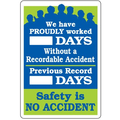 Dry Erase Safety Tracker Signs - Proudly Worked __ Days Without A Recordable Accident