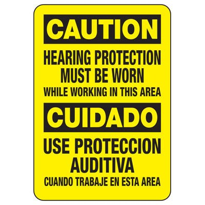 Bilingual Caution Hearing Protection Must Be Worn - Ear Protection Sign