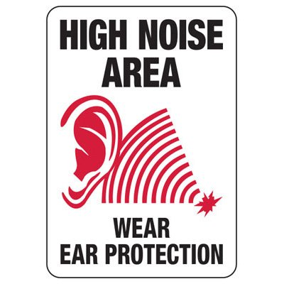 High Noise Area Wear Ear Protection With Graphic - Machine Safety Signs