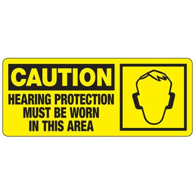 Caution Hearing Protection Must Be Worn - Ear Protection Sign