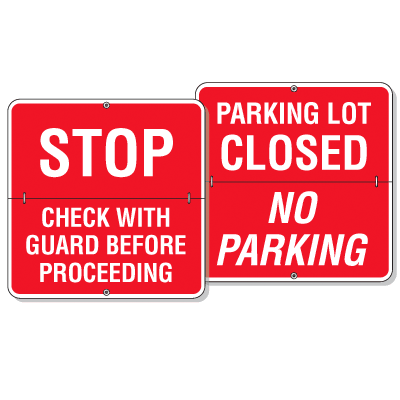 Easy Flip Parking Lot Status Signs- Stop/Closed