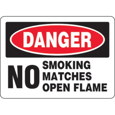 Eco-Friendly Signs - Danger No Smoking Matches Open Flames