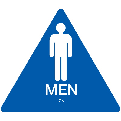California Code ADA Men Rest Room Sign- Blue