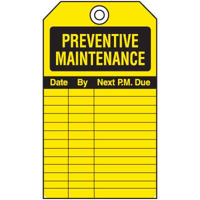 Economy Equipment Inspection Tags - Preventative