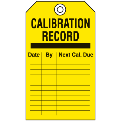 Economy Equipment Inspection Tags - Calibration