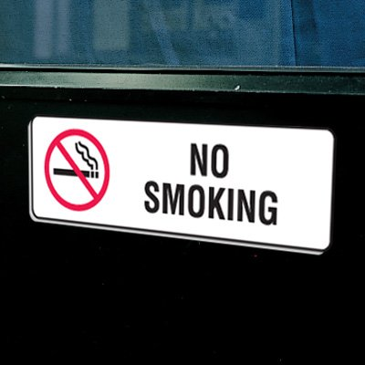 "Plastic No Smoking Signs w/Graphic - 9""W x 3""H"