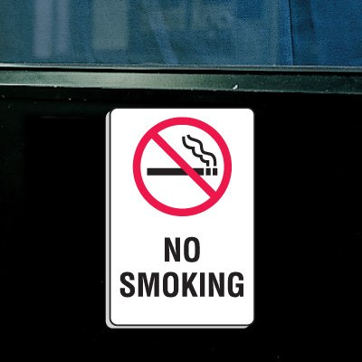 "Plastic No Smoking Signs w/Graphic - 6""W x 9""H"