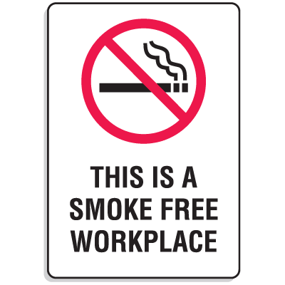 "Plastic This Is A Smoke Free Workplace Signs w/Graphic - 6""W x 9""H"