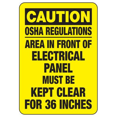 Caution OSHA Regulations Area - Electrical Safety Signs