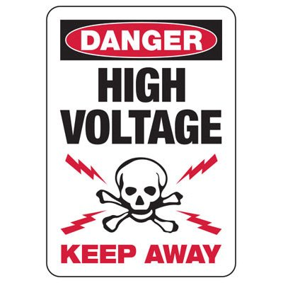 Danger High Voltage Keep Away With Graphic - Electrical Safety Signs