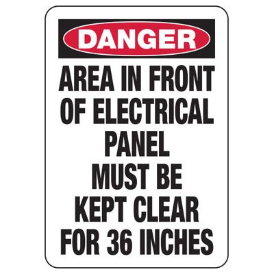 Danger Area In Front Of Electrical Panel - Electrical Safety Signs