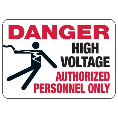High Voltage Authorized Personnel With Graphic - Electrical Safety Signs