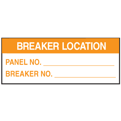 Electrical Safety Write-On Labels- Breaker Location Panel No. Breaker No.