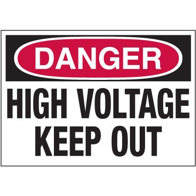 Electrical Warning Labels - Danger High Voltage Keep Out