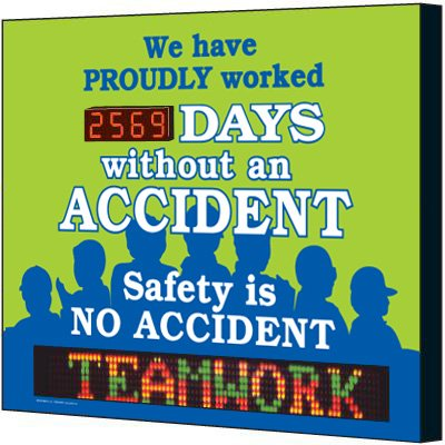 Electronic Safety Scoreboard - Proudly Worked Without Accident