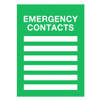 Emergency Contacts Insert Frame Sign