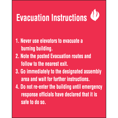 Evacuation Instructions Emergency Signs